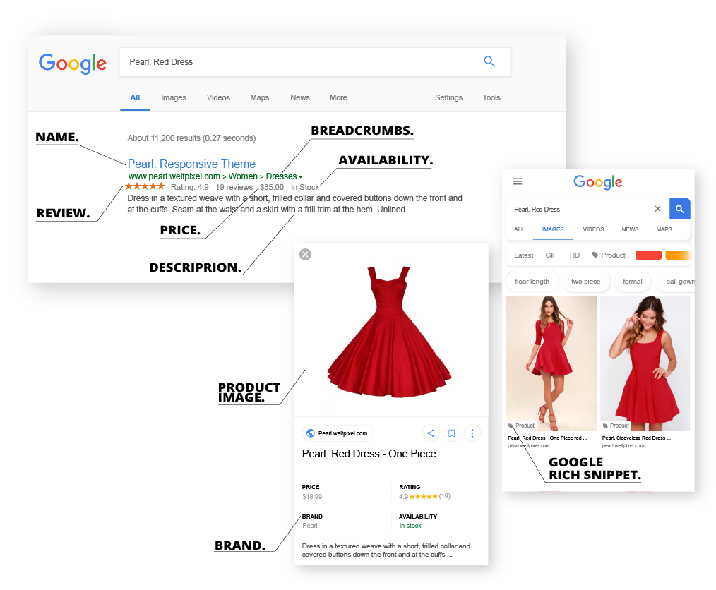 Magento 2 Rich Snippets Free Extension screen shots illustrating desktop and mobile display