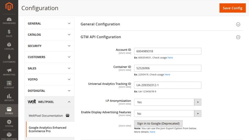 WeltPixel GTM Admin Configuration