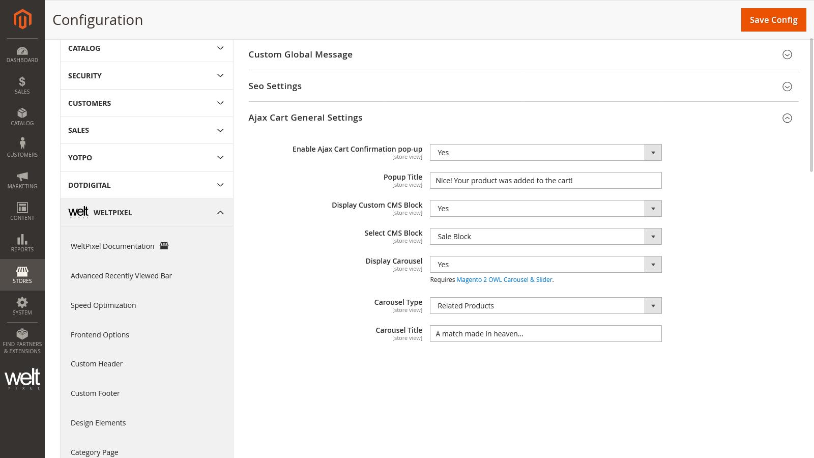Pop-Up Configuration Settings