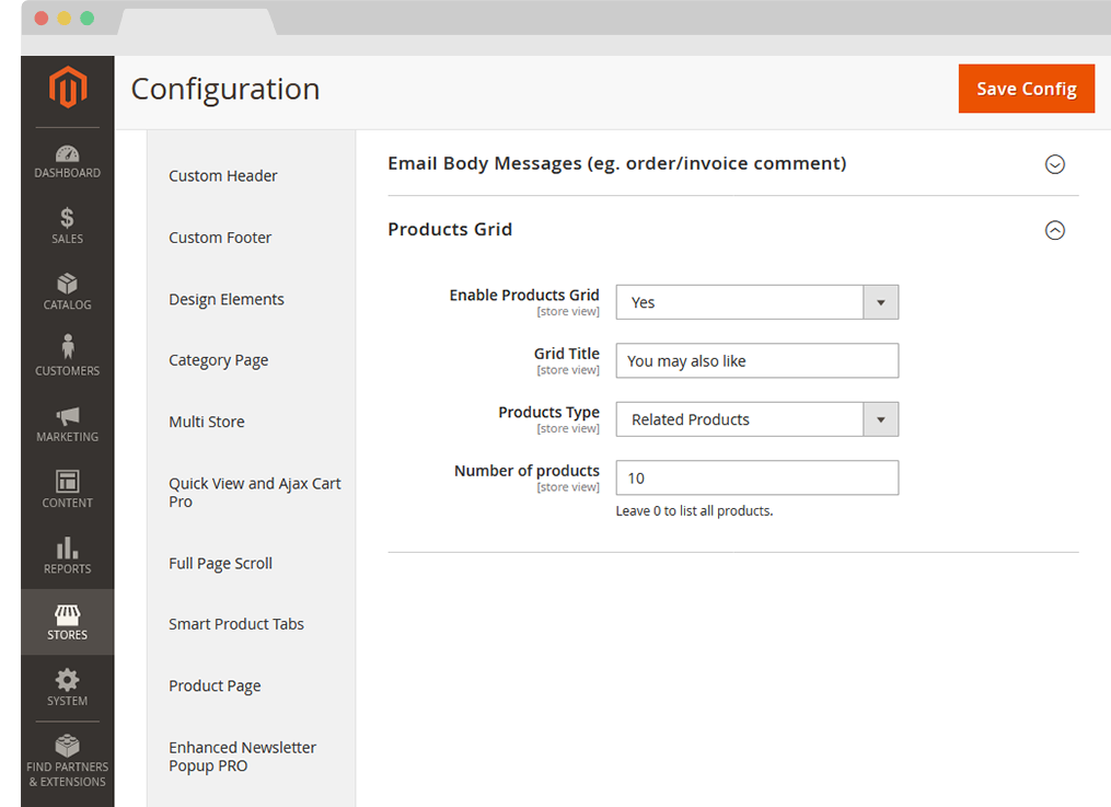 Magento 2 Transactional Email Template Editor Extension configuration Products Grid