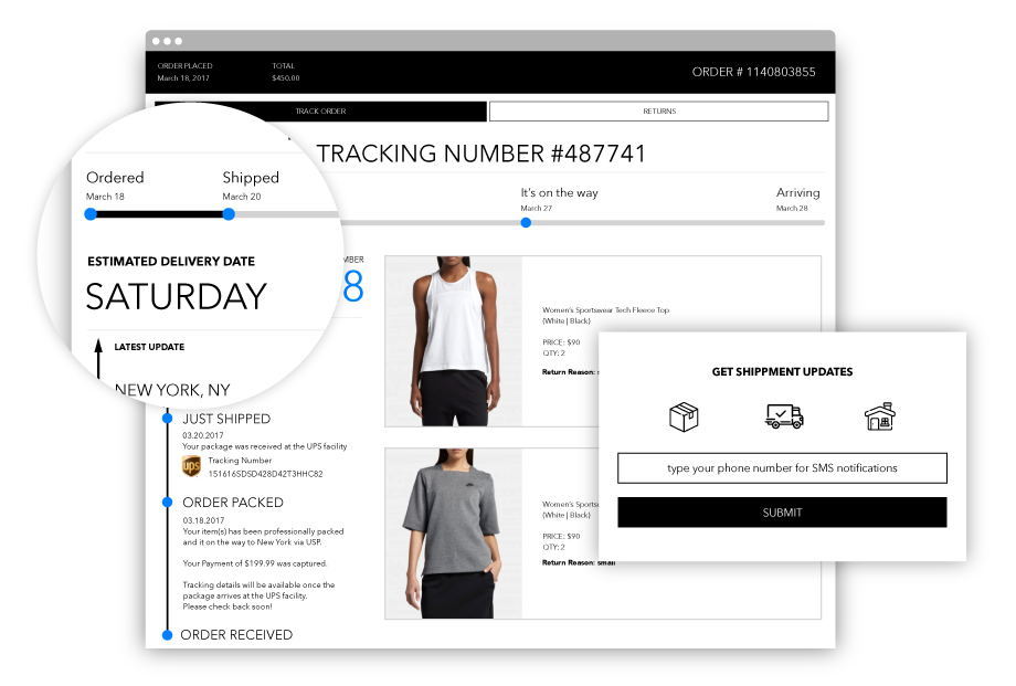 Magento 2 Order Tracking and SMS Notification tracking page example.