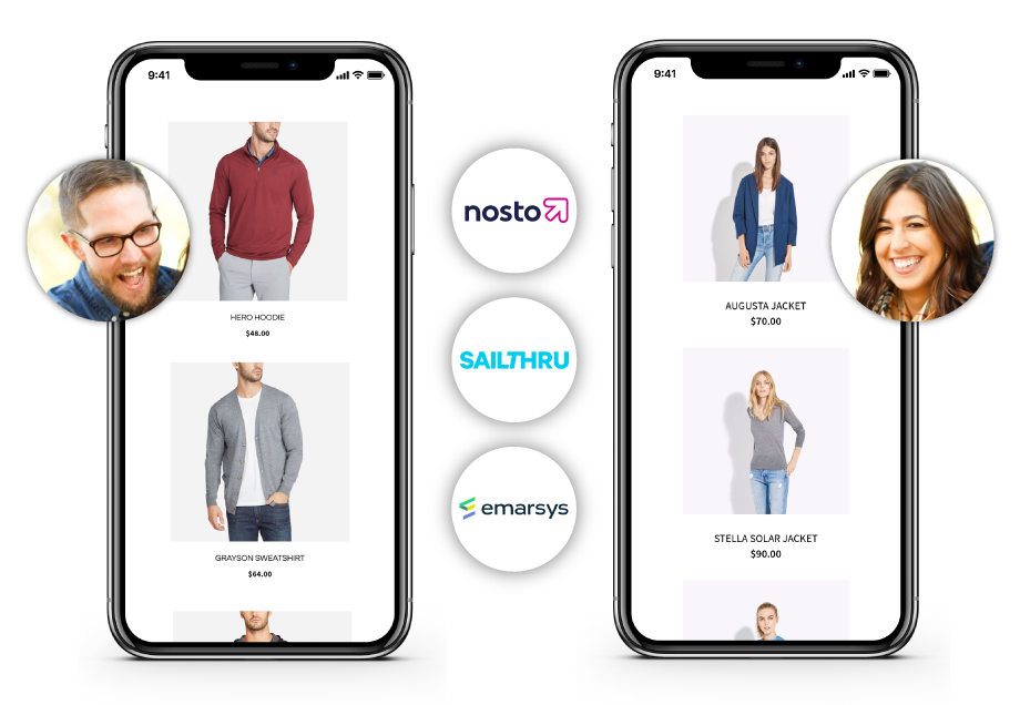 Magento 2 Order Tracking and SMS Notification Nosto, Sailthru, and Emarsys logos next to image of a phone engaged in shopping.