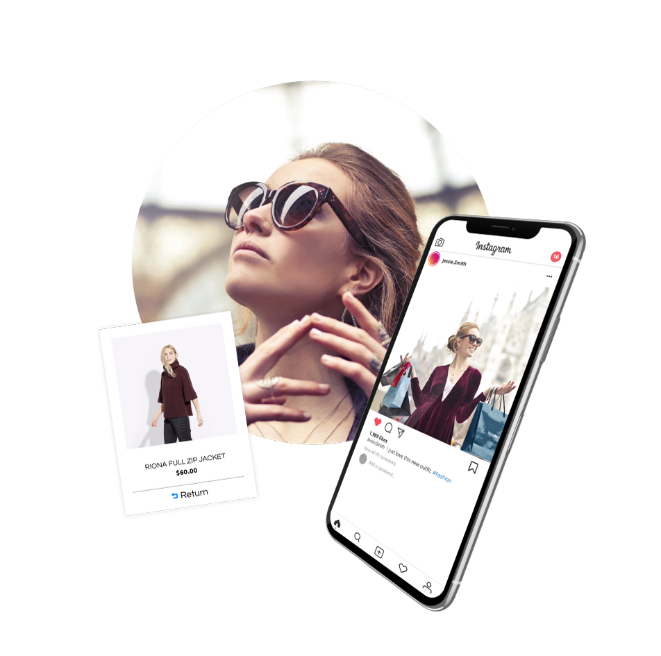 Magento 2 Return Order and RMA Extension image of female shopper and iPhone.