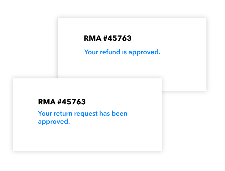 Magento 2 Return Order and RMA Extension sample RMA screens.