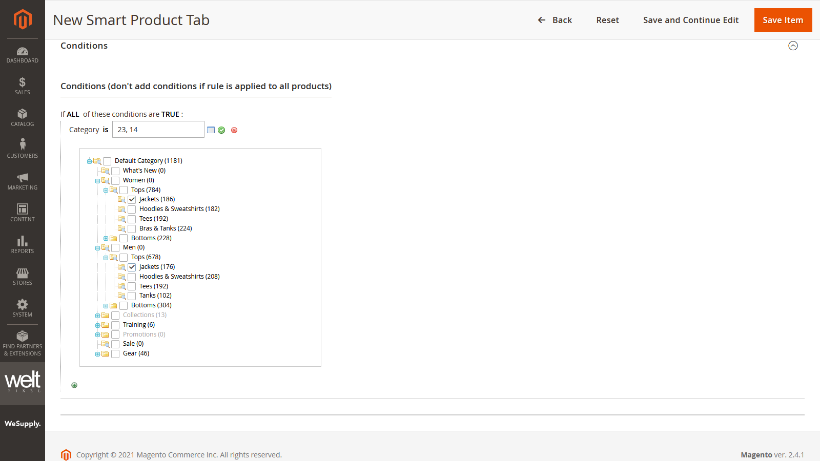 Magento 2 Custom Product Page Tabs Conditions