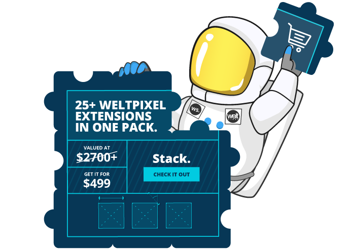 WeltPixel Cosmo illustration for the Magento 2 Extensions page.