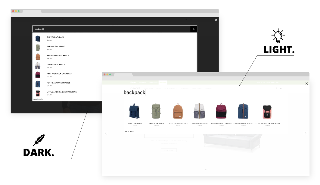 Magento 2 Ajax Search Autocomplete Extension dark and light example.